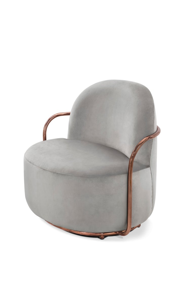 Modern Orion Lounge Chair with Plush Gray Velvet and Rose Gold Arms by Nika Zupanc For Sale