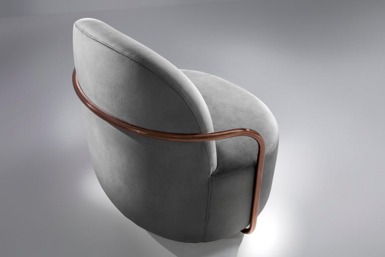 Orion Lounge Chair with Plush Gray Velvet and Rose Gold Arms by Nika Zupanc In New Condition For Sale In Kolkata, IN