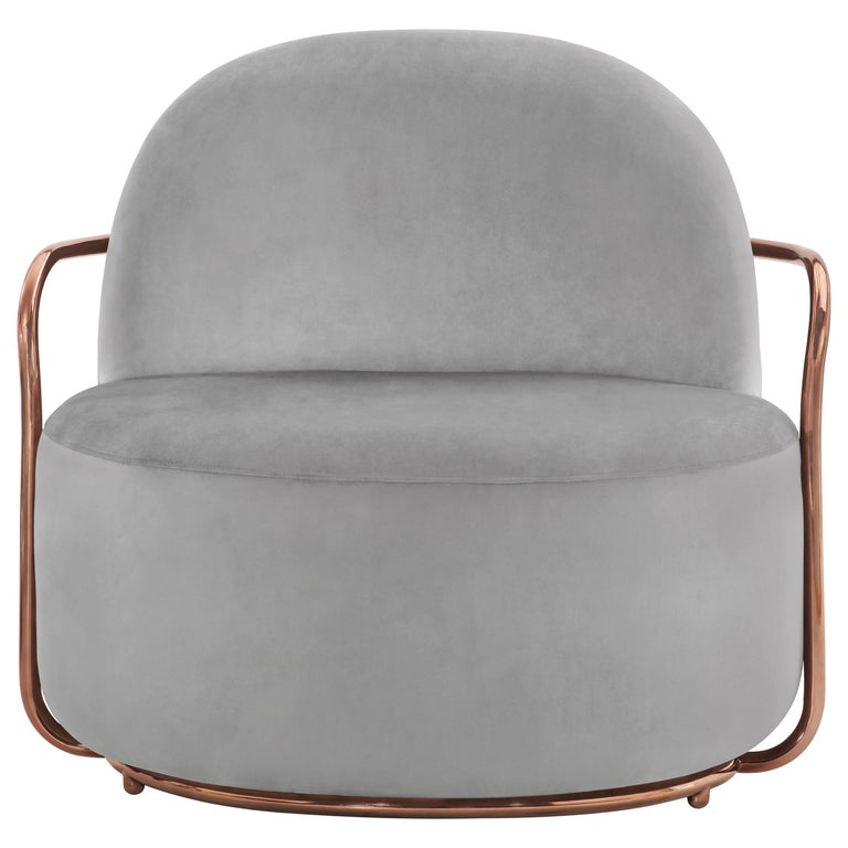 Orion Lounge Chair with Plush Gray Velvet and Rose Gold Arms by Nika Zupanc For Sale