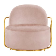 Orion Lounge Chair with Plush Pink Velvet and Gold Arms by Nika Zupanc