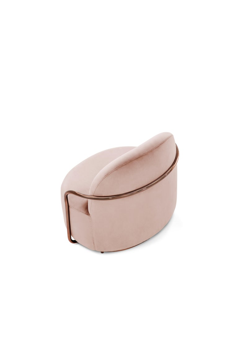 Modern Orion Lounge Chair with Plush Pink Velvet and Rose Gold Arms by Nika Zupanc For Sale