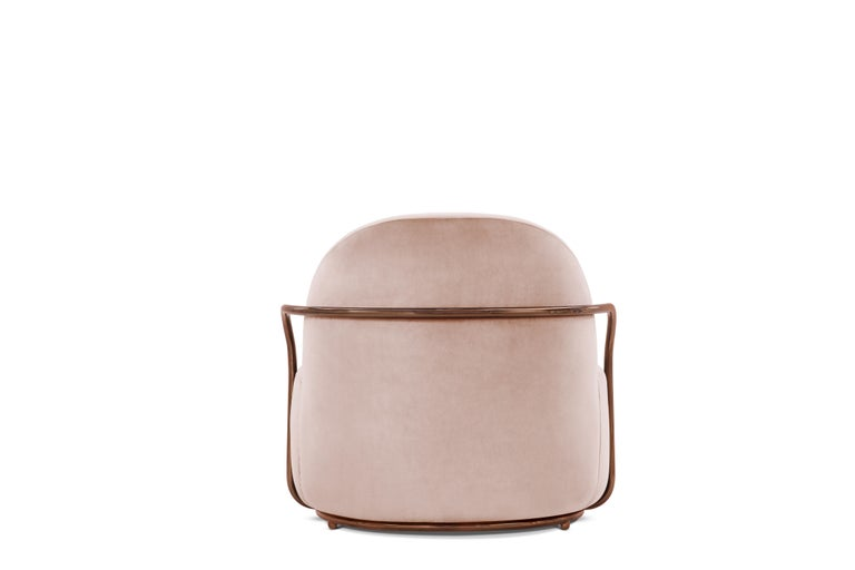 Indian Orion Lounge Chair with Plush Pink Velvet and Rose Gold Arms by Nika Zupanc For Sale