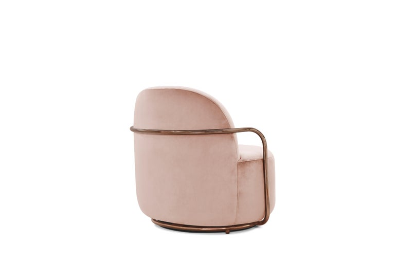 Hand-Crafted Orion Lounge Chair with Plush Pink Velvet and Rose Gold Arms by Nika Zupanc For Sale
