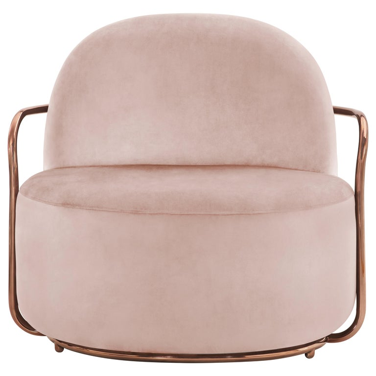 Orion Lounge Chair with Plush Pink Velvet and Rose Gold Arms by Nika Zupanc For Sale