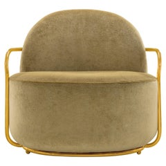 Orion Lounge Chair with Gold Dedar Velvet and Gold Arms by Nika Zupanc