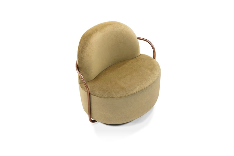 Modern Orion Lounge Chair with Gold Dedar Velvet and Rose Gold Arms by Nika Zupanc For Sale