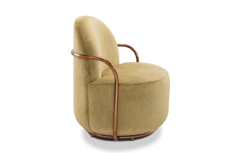 Hand-Crafted Orion Lounge Chair with Gold Dedar Velvet and Rose Gold Arms by Nika Zupanc For Sale