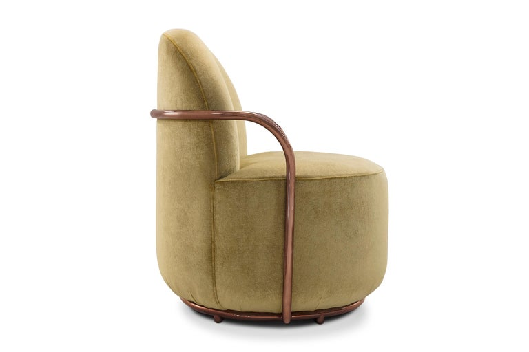 Orion Lounge Chair with Gold Dedar Velvet and Rose Gold Arms by Nika Zupanc In New Condition For Sale In Kolkata, IN