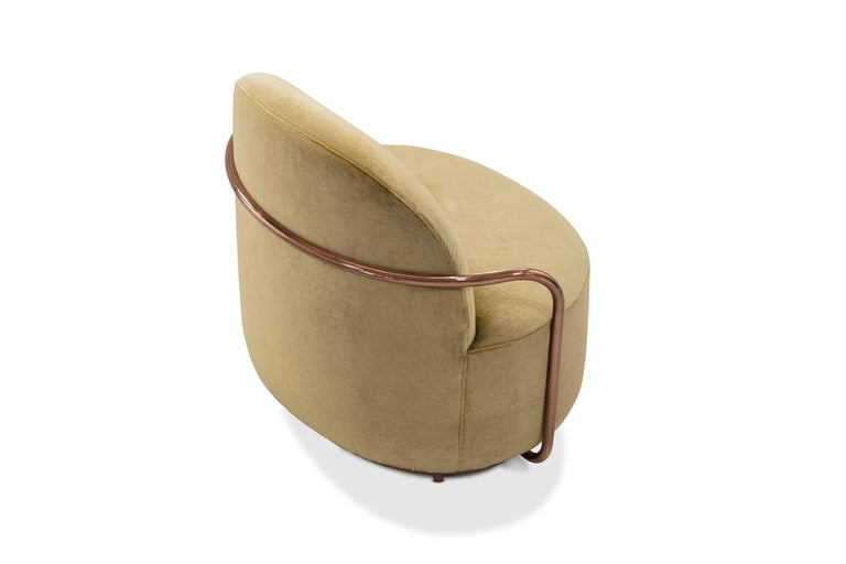 Contemporary Orion Lounge Chair with Gold Dedar Velvet and Rose Gold Arms by Nika Zupanc For Sale