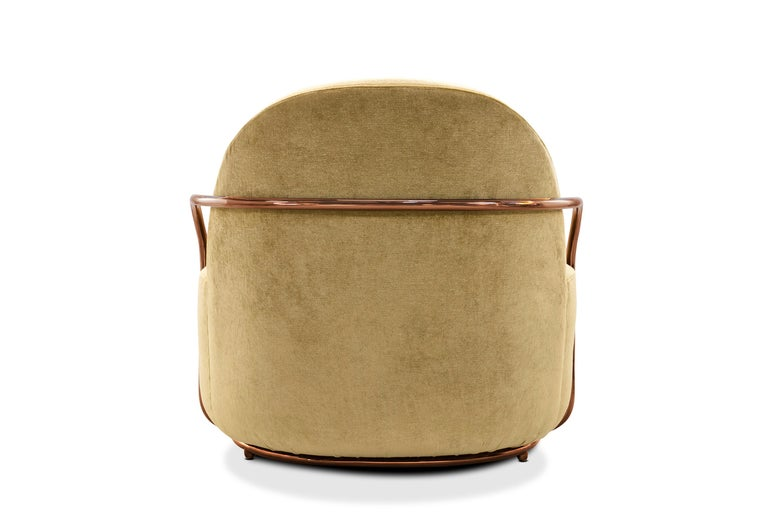 Foam Orion Lounge Chair with Gold Dedar Velvet and Rose Gold Arms by Nika Zupanc For Sale