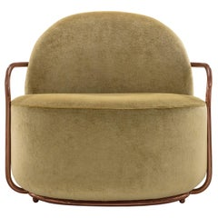 Orion Lounge Chair with Gold Dedar Velvet and Rose Gold Arms by Nika Zupanc