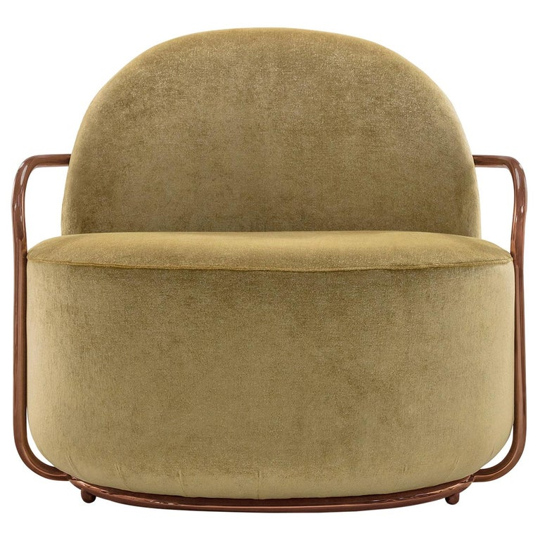 Orion Lounge Chair with Gold Dedar Velvet and Rose Gold Arms by Nika Zupanc For Sale