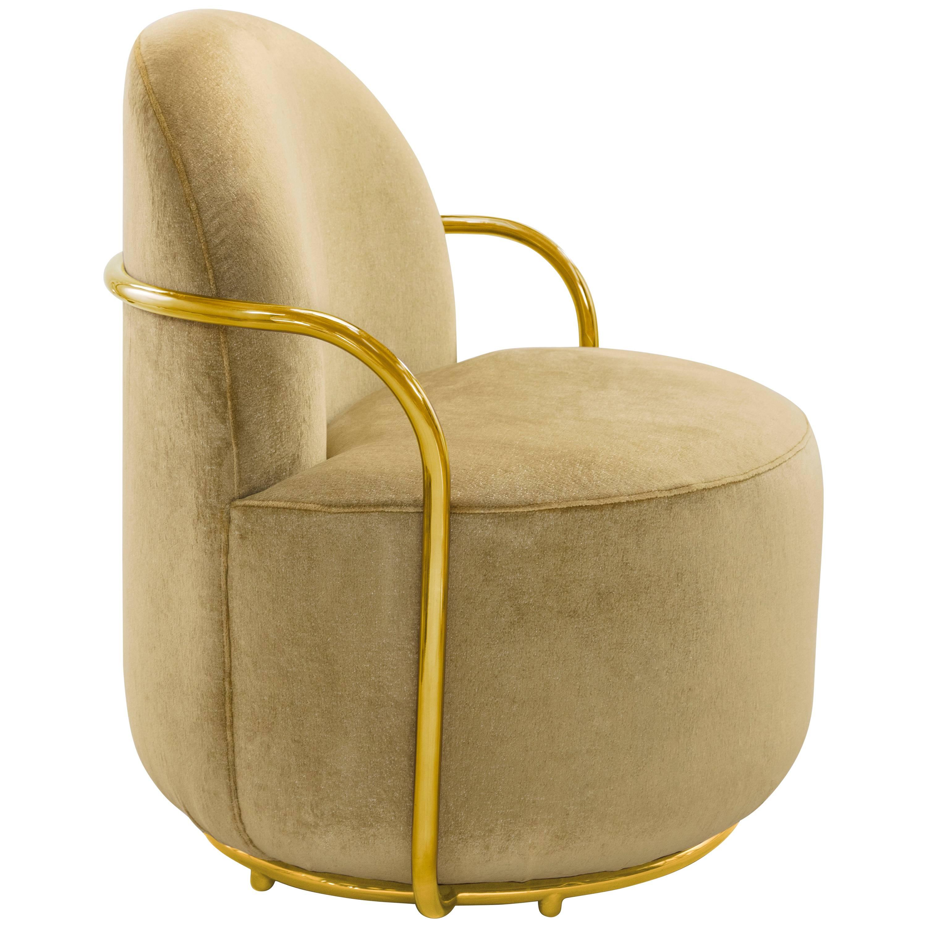 Orion Lounge Chair Gold with Dedar Milano by Nika Zupanc for Scarlet Splendour
