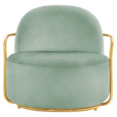 Orion Lounge Chair with Plush Mint Green Velvet and Gold Arms by Nika Zupanc