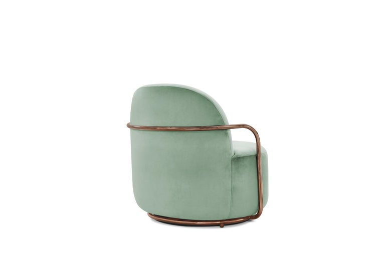 Modern Orion Lounge Chair with Mint Green Velvet and Rose Gold Arms by Nika Zupanc For Sale