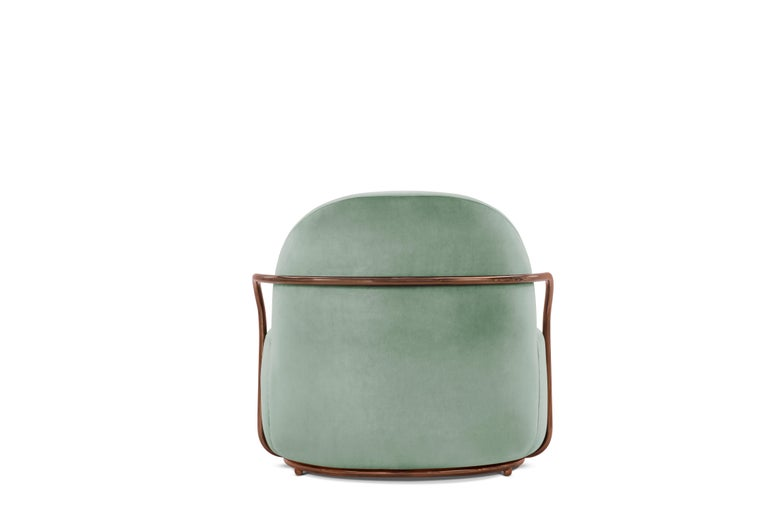 Indian Orion Lounge Chair with Mint Green Velvet and Rose Gold Arms by Nika Zupanc For Sale