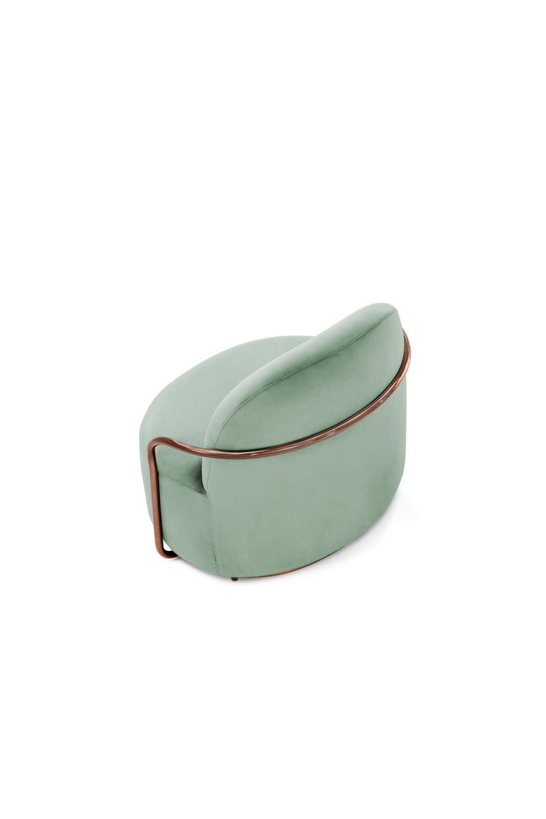 Hand-Crafted Orion Lounge Chair with Mint Green Velvet and Rose Gold Arms by Nika Zupanc For Sale