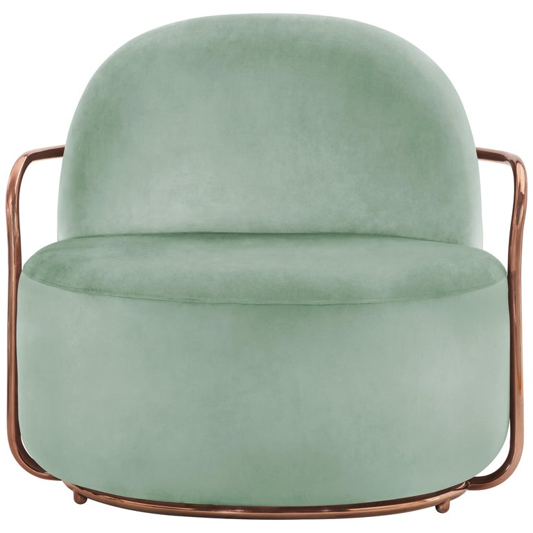 Orion Lounge Chair with Mint Green Velvet and Rose Gold Arms by Nika Zupanc For Sale