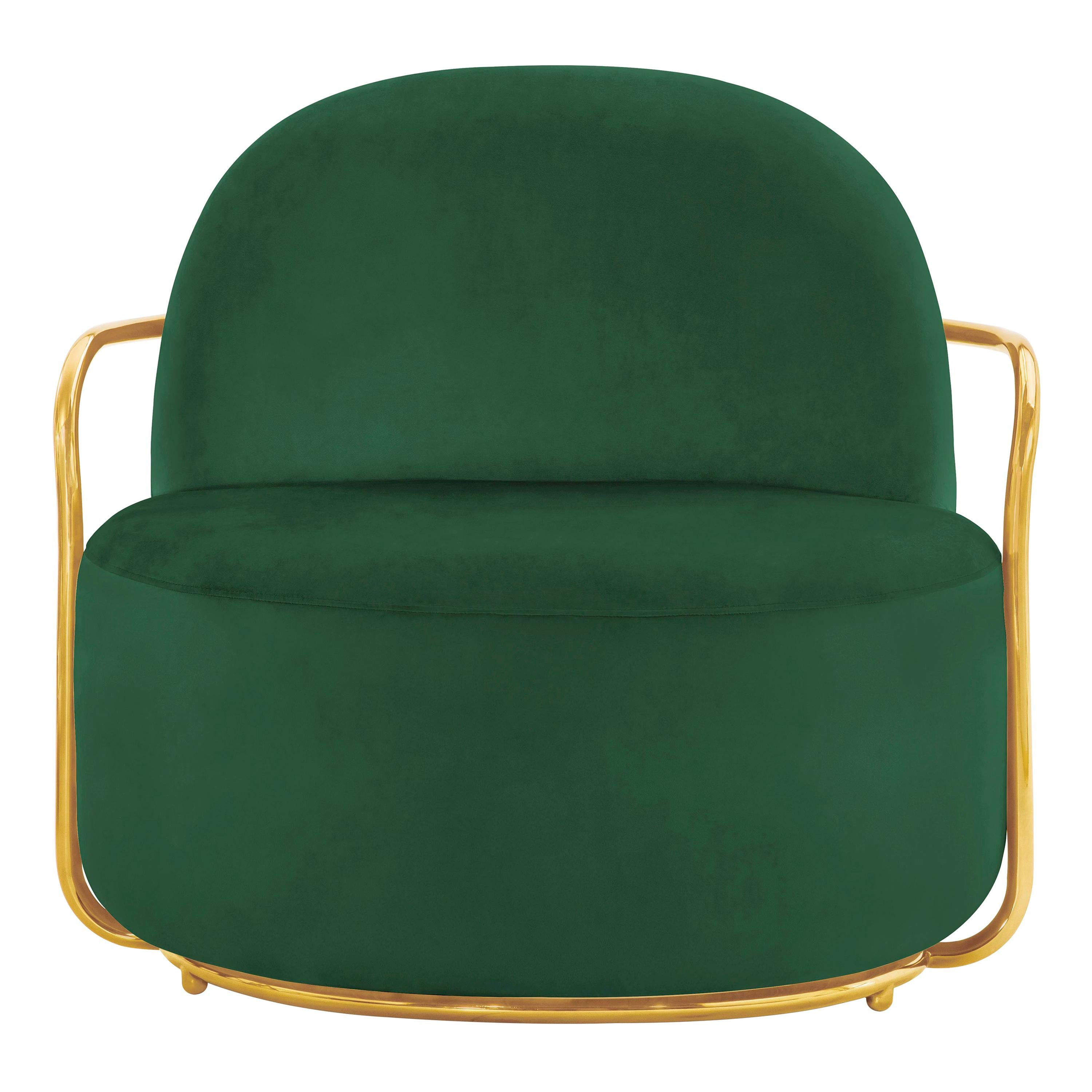 Orion Lounge Chair with Plush Green Velvet and Gold Arms by Nika Zupanc