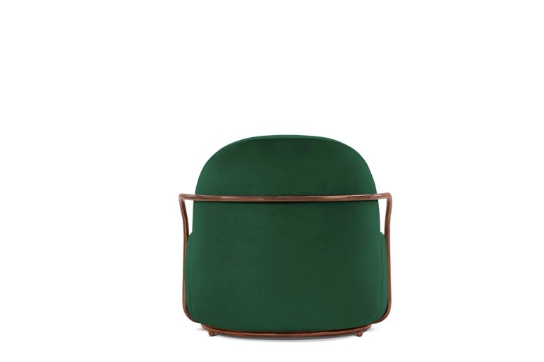Modern Orion Lounge Chair with Plush Green Velvet and Rose Gold Arms by Nika Zupanc For Sale