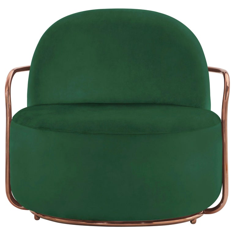 Orion Lounge Chair with Plush Green Velvet and Rose Gold Arms by Nika Zupanc For Sale