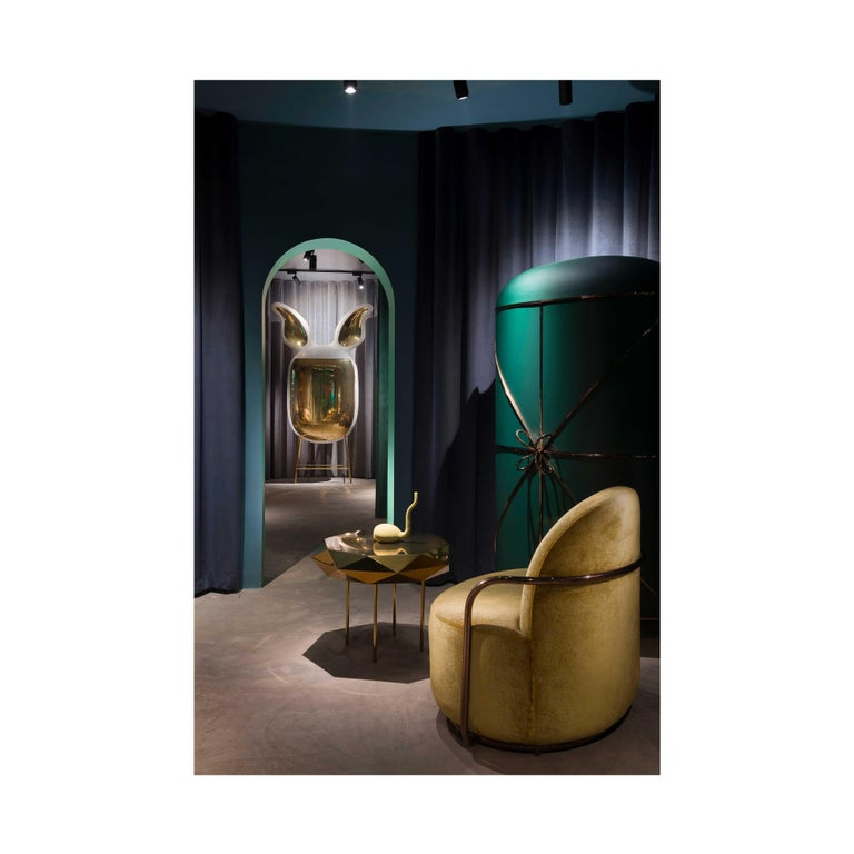 Orion Lounge Chair with Gold Dedar Velvet and Rose Gold Arms by Nika Zupanc For Sale 3