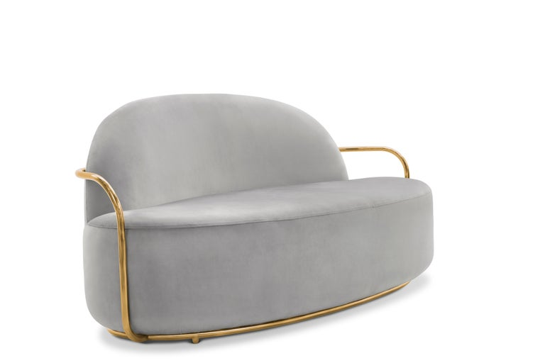 Hand-Crafted Orion 3 Seat Sofa with Plush Gray Velvet and Gold Arms by Nika Zupanc For Sale