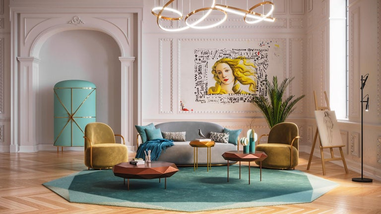 Orion 3 Seat Sofa with Plush Gray Velvet and Gold Arms by Nika Zupanc has timeless appeal in light gray velvet and rich gold metal arms.  Nika Zupanc, a strikingly renowned Slovenian designer, never shies away from redefining the status quo of