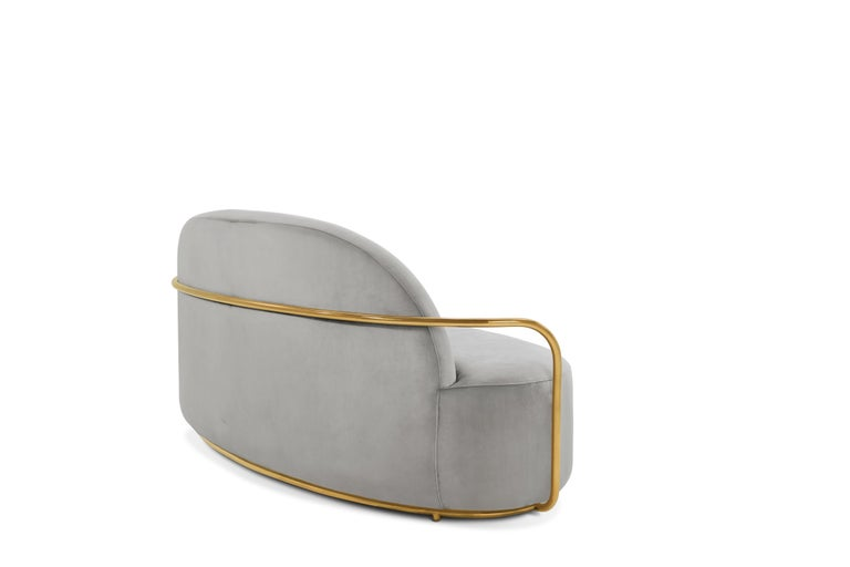 Foam Orion 3 Seat Sofa with Plush Gray Velvet and Gold Arms by Nika Zupanc For Sale