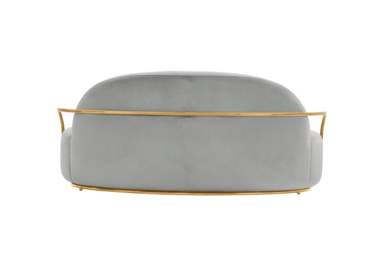 Orion 3 Seat Sofa with Plush Gray Velvet and Gold Arms by Nika Zupanc For Sale 1