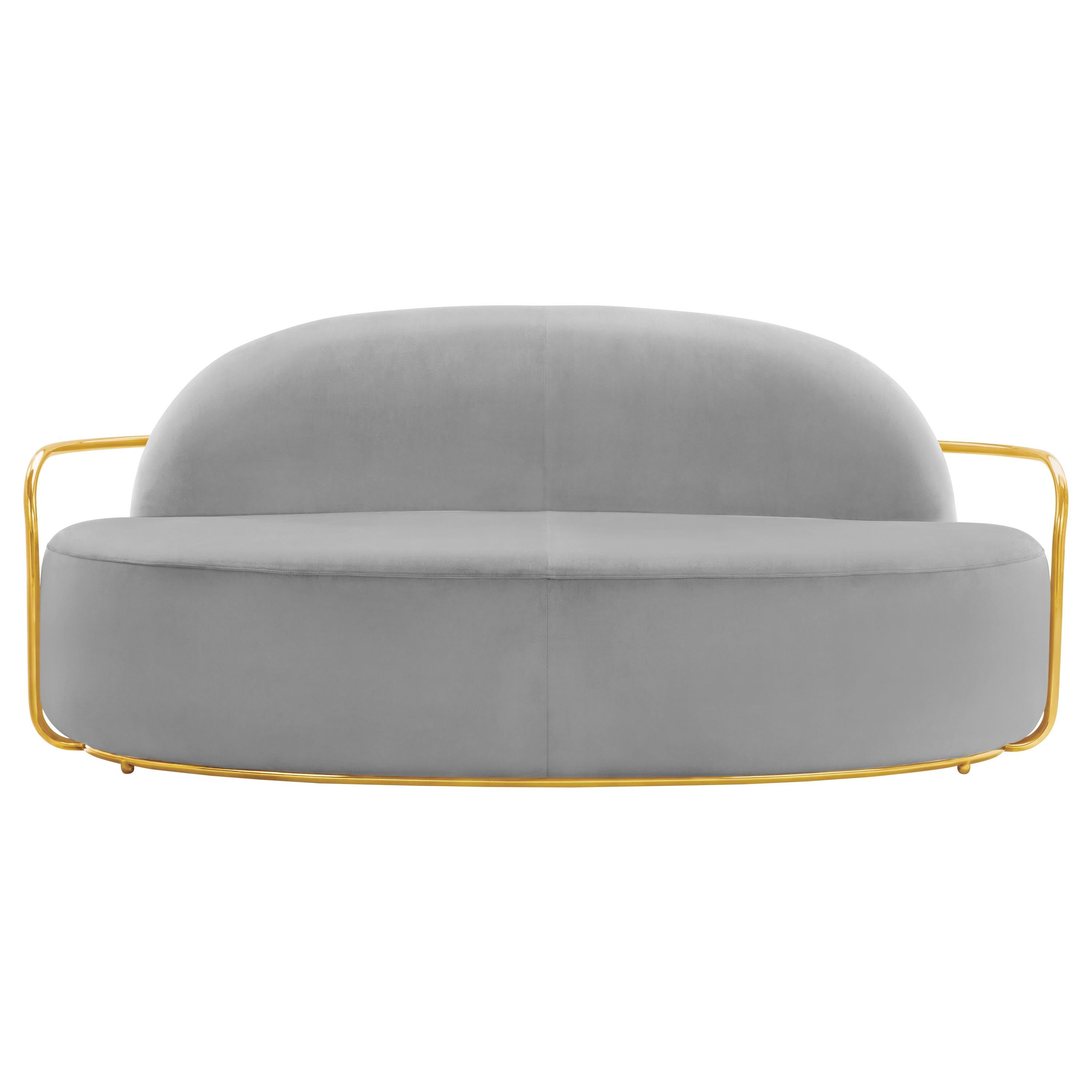 Orion 3 Seat Sofa with Plush Gray Velvet and Gold Arms by Nika Zupanc