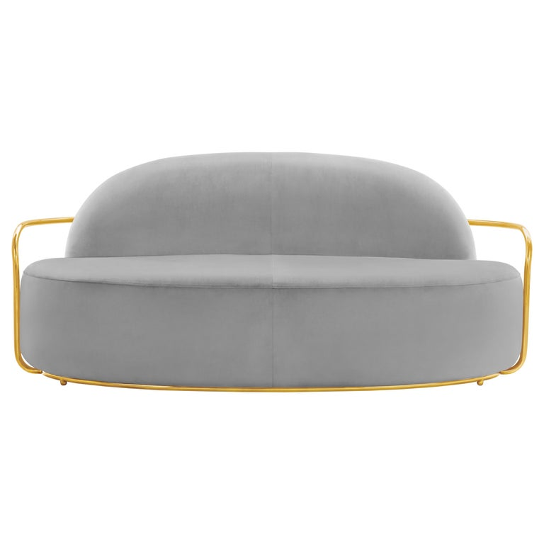 Orion 3 Seat Sofa with Plush Gray Velvet and Gold Arms by Nika Zupanc For Sale