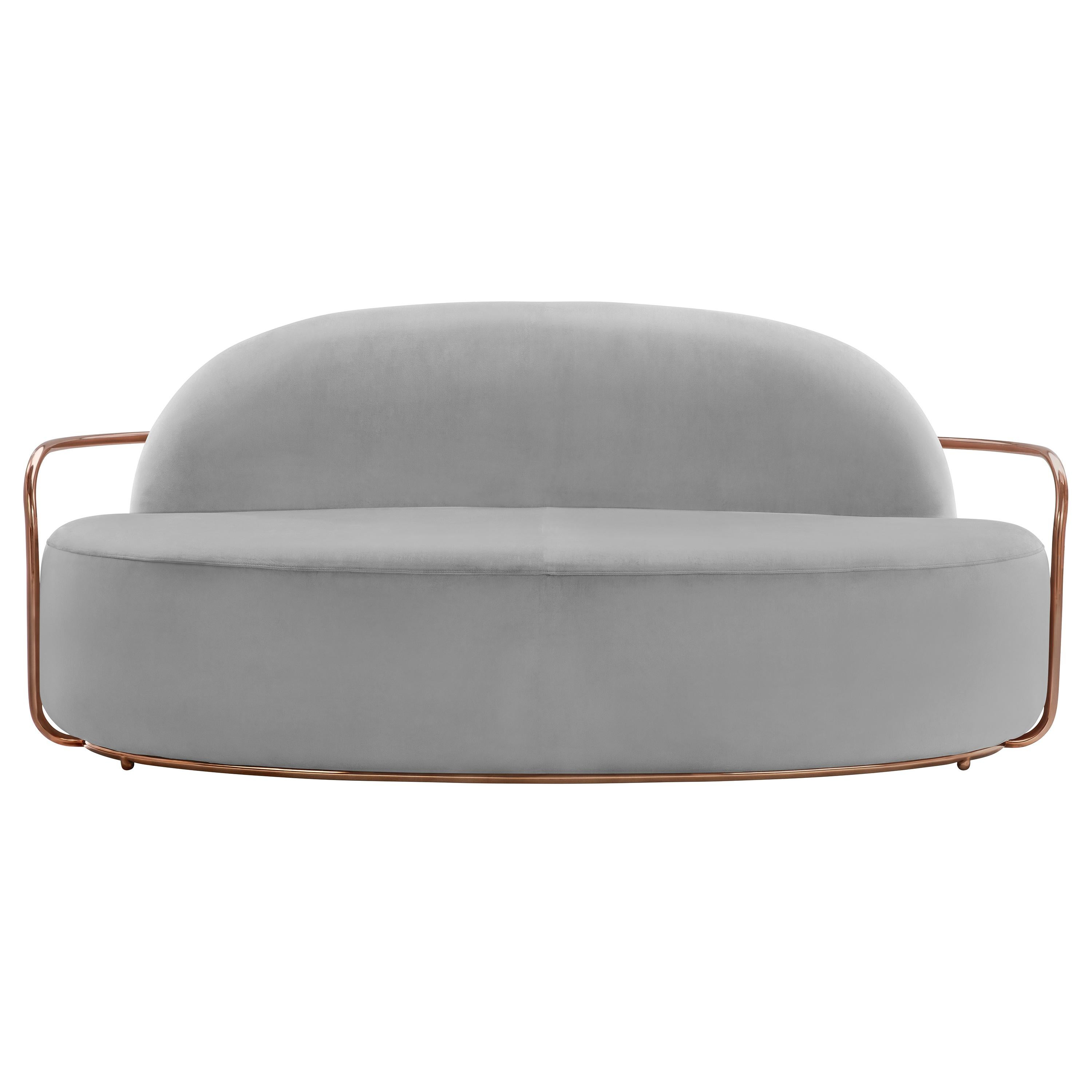 Orion 3 Seat Sofa with Plush Gray Velvet and Rose Gold Arms by Nika Zupanc