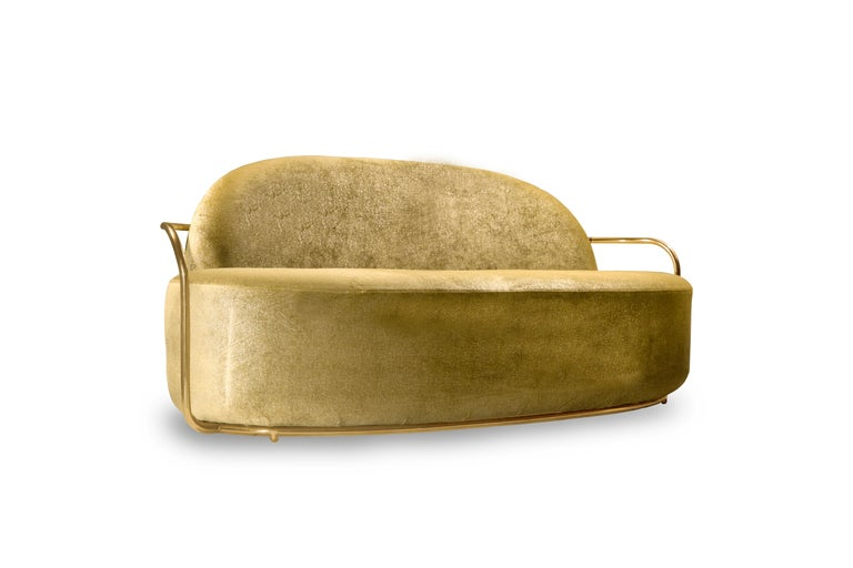 Orion 3 Seat Sofa with Dedar Velvet and Gold Arms by Nika Zupanc is a single seater sofa with opulent gold fabric from Dedar Milano and gold metal arms. A statement piece!  Nika Zupanc, a strikingly renowned Slovenian designer, never shies away from