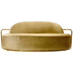 Orion 3 Seat Sofa with Dedar Velvet and Gold Arms by Nika Zupanc