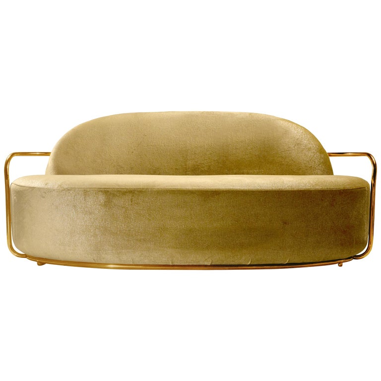 Orion 3 Seat Sofa with Dedar Velvet and Gold Arms by Nika Zupanc For Sale