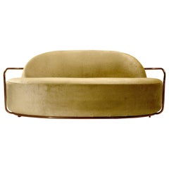 Orion 3 Seat Sofa with Gold Dedar Velvet and Rose Gold Arms by Nika Zupanc
