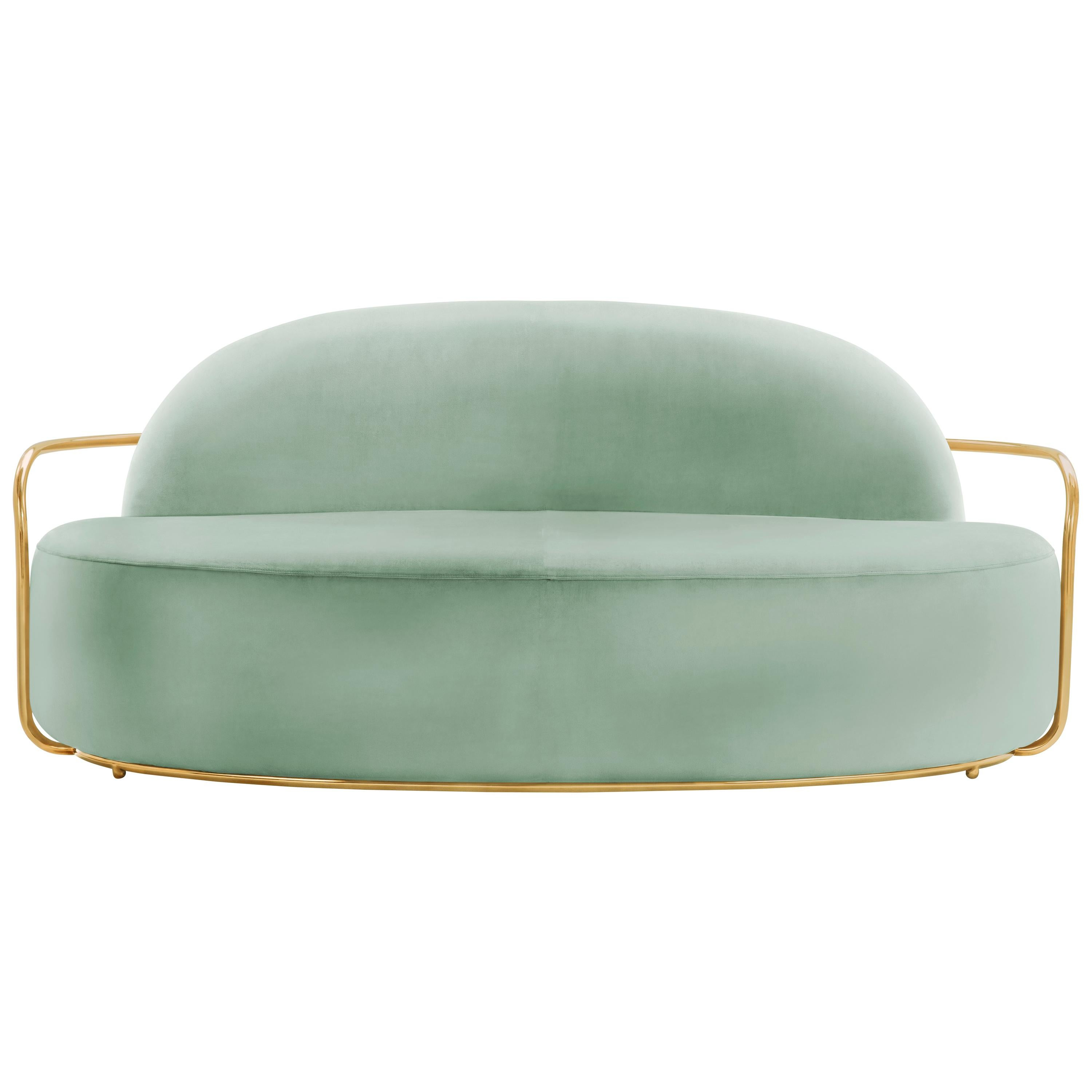 Orion 3 Seat Sofa with Plush Mint Green Velvet and Gold Arms by Nika Zupanc