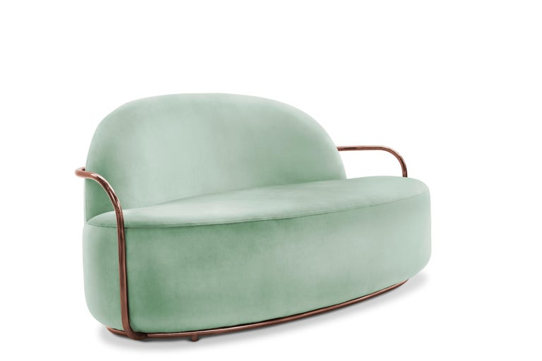 The comfort of Orion 3 Seat Sofa with Plush Mint Green Velvet and Rose Gold Arms by Nika Zupanc compliments the cool mint green velvet and rose gold metal arms.  Nika Zupanc, a strikingly renowned Slovenian designer, never shies away from redefining