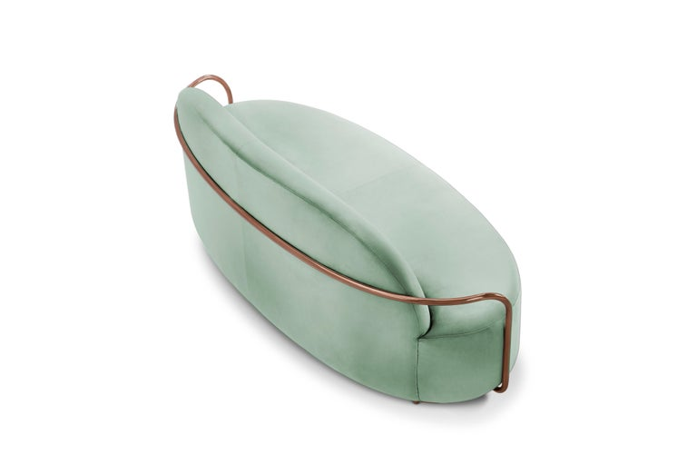 Modern Orion 3 Seat Sofa with Plush Mint Green Velvet and Rose Gold Arms by Nika Zupanc For Sale