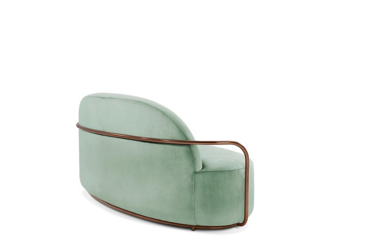 Hand-Crafted Orion 3 Seat Sofa with Plush Mint Green Velvet and Rose Gold Arms by Nika Zupanc For Sale