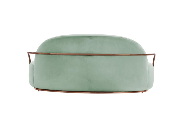 Orion 3 Seat Sofa with Plush Mint Green Velvet and Rose Gold Arms by Nika Zupanc In New Condition For Sale In Kolkata, IN