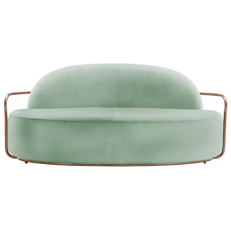 Orion 3 Seat Sofa with Plush Mint Green Velvet and Rose Gold Arms by Nika Zupanc For Sale