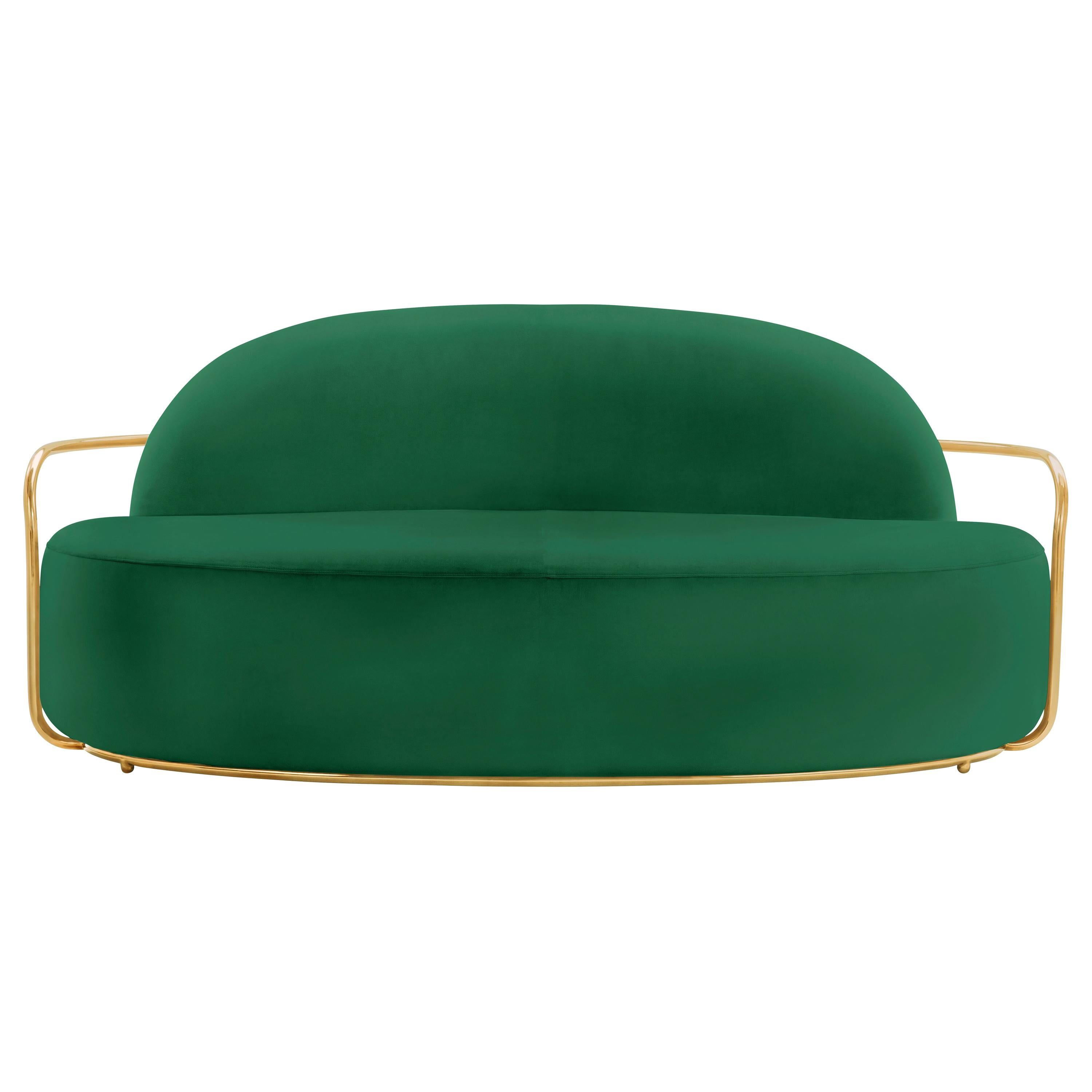Orion 3 Seat Sofa with Plush Green Velvet and Gold Arms by Nika Zupanc