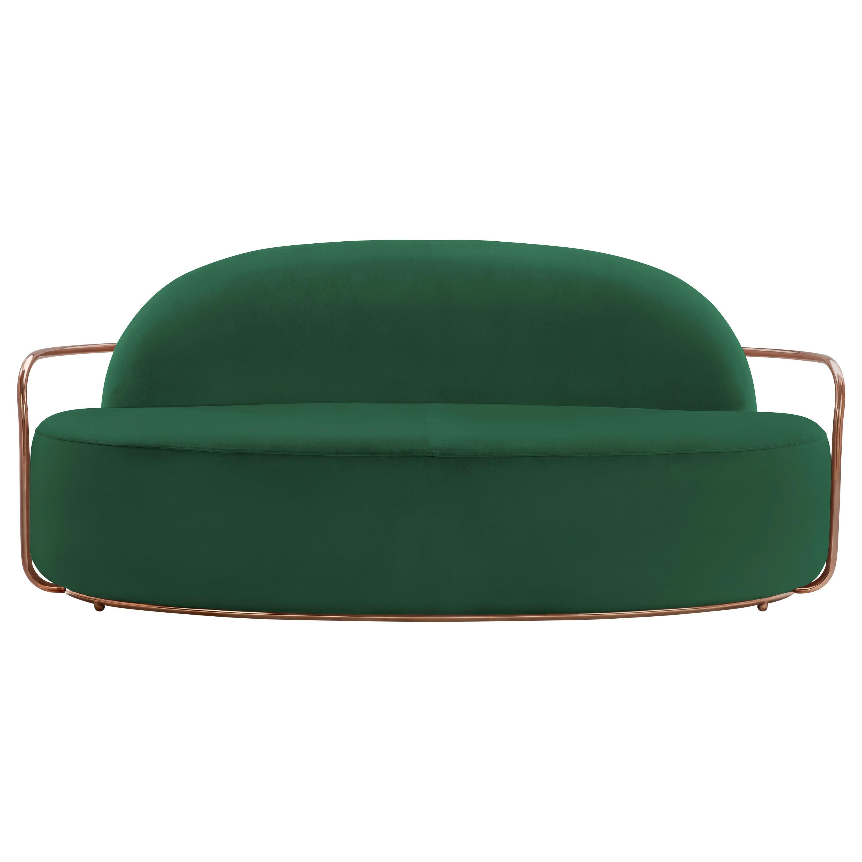 Orion 3 Seat Sofa with Plush Green Velvet and Rose Gold Arms by Nika Zupanc