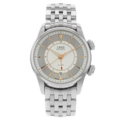 Oris Artelier Alarm Silver Dial Steel Automatic Men Watch 01 908 7607 4051-Set-M