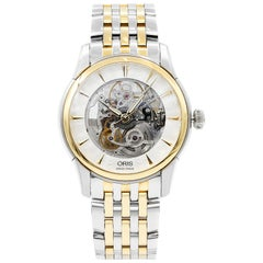 Oris Artelier Skeleton Steel Gold-Plated Automatic Men's Watch 734-7670-4351MB