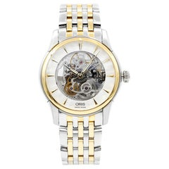 Oris Artelier Skeleton Steel PVD Gold Plated Automatic Men's Watch 734-7670-4351