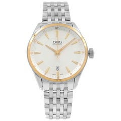 Oris Artix Steel 18 Karat Gold Silver Dial Automatic Men's Watch 733 7713 6331MB