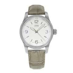 Oris Big Crown Silver Dial Leather Steel Automatic Ladies Watch 01 733 7649 4031